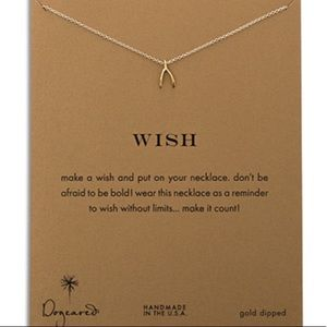 New on Card💕 Wish Bone Necklace Gold Dipped Gift